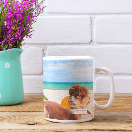 Mug near flowers, And I will always love you gift mug, ocean