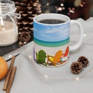 Alpaca singing And I will always  love you gift mug, ocean  and chairs, on desk chairs