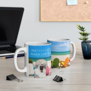 Alpaca singing And I will always  love you gift mug, ocean  and chairs,two mugs on desk