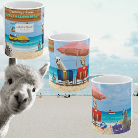Greetings from Alpaca Beach mug three mugs