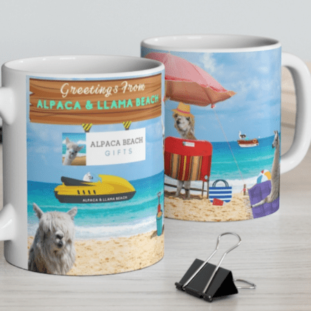 Greetings from Alpaca Beach mug two mugs