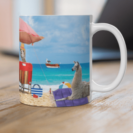 Greetings from Alpaca Beach mug on desk