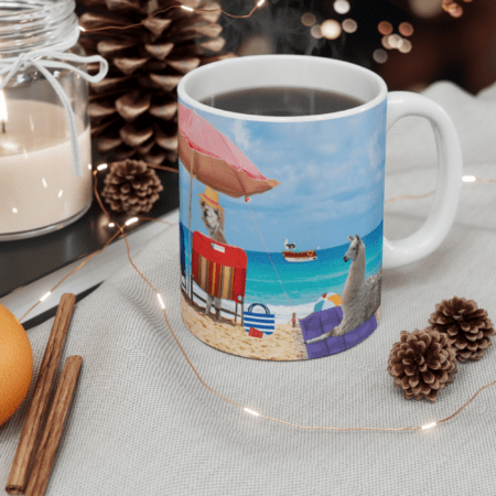 Greetings from Alpaca Beach mug on table