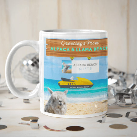 Greetings from Alpaca Beach mug race boat
