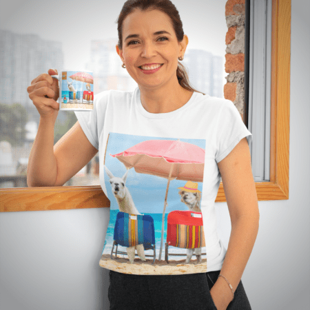 Greetings from Alpaca Beach mug woman in shirt with mug