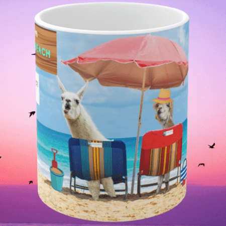 Greetings from Alpaca Beach mug sunset