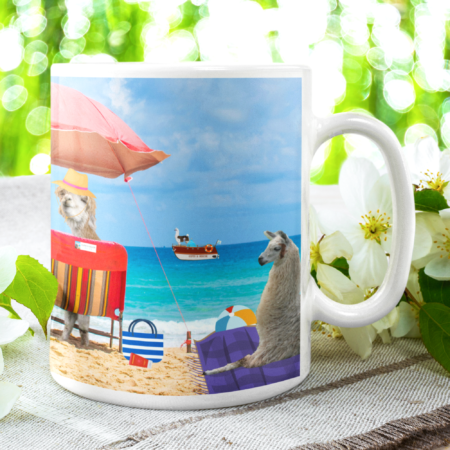 Greetings from Alpaca Beach mug garden