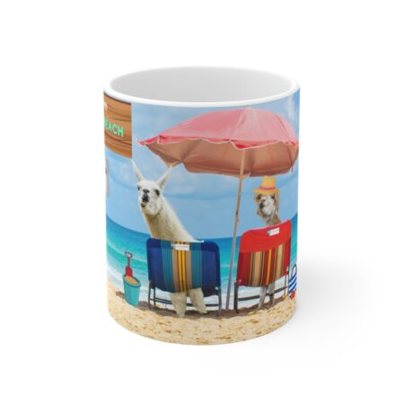 Greetings from Alpaca Beach gift coffee mug on table 6