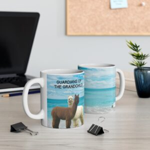 Guardians of the Grandchild gift coffee mug grandparents two sides mug on table