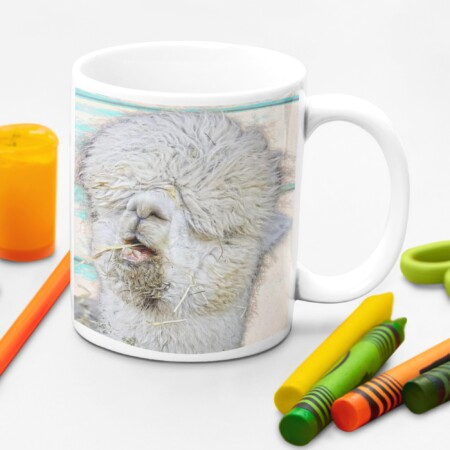 """""""The longer I stay at home, the more homeless I look"""" mug with crayons"""