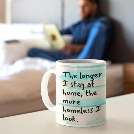 """""""The longer I stay at home, the more homeless I look"""" in foreground, man in background"""