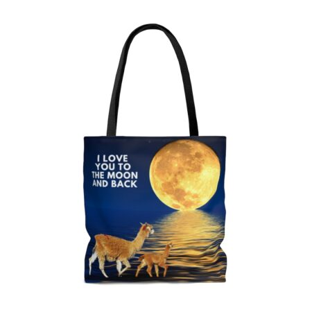 I love you to the moon and back alpaca beach bag back