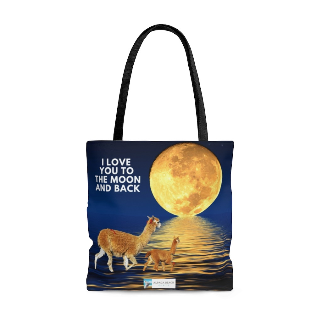 I love you to the moon and back alpaca beach bag front