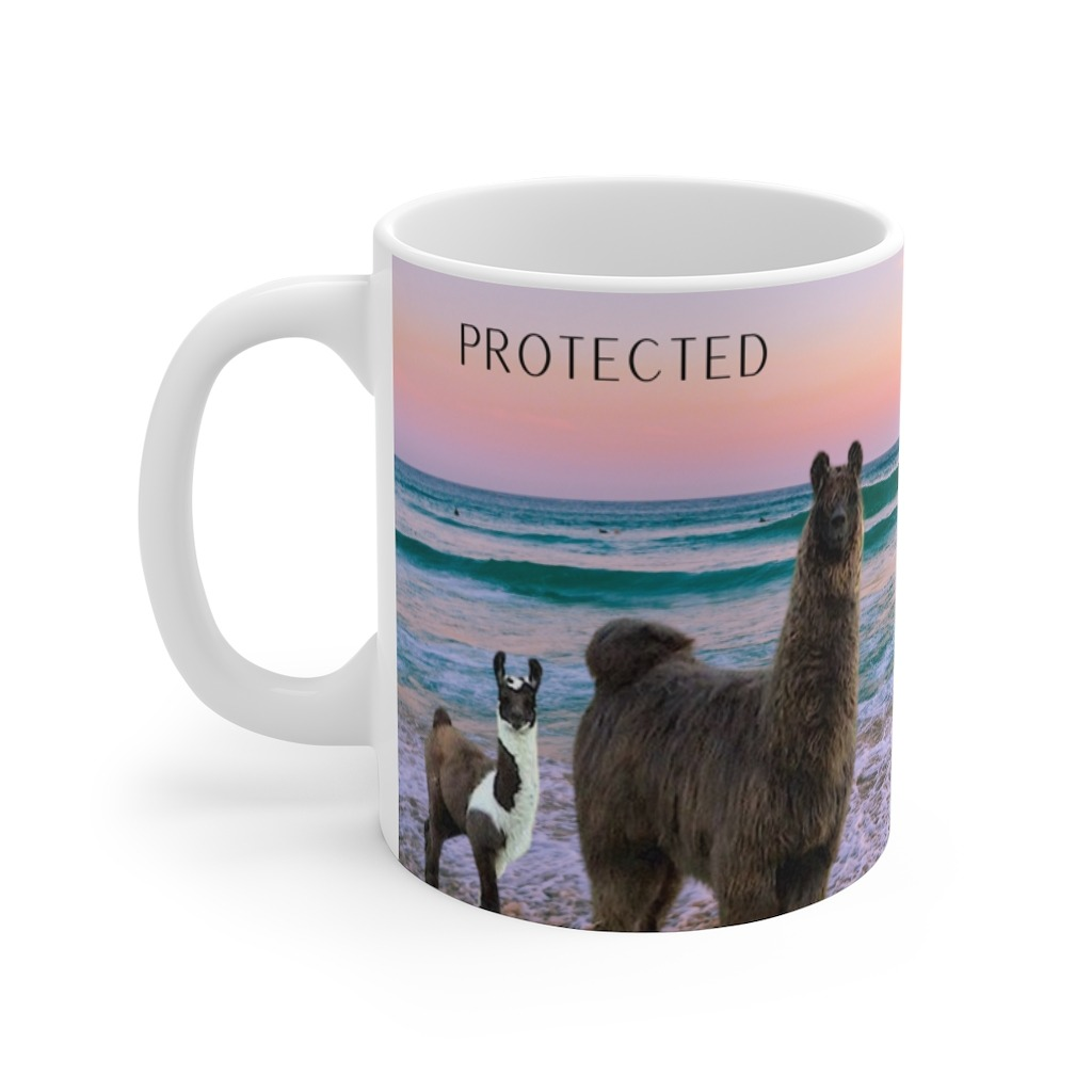 Protected & Loved gift mug for son with llamas and alpacas