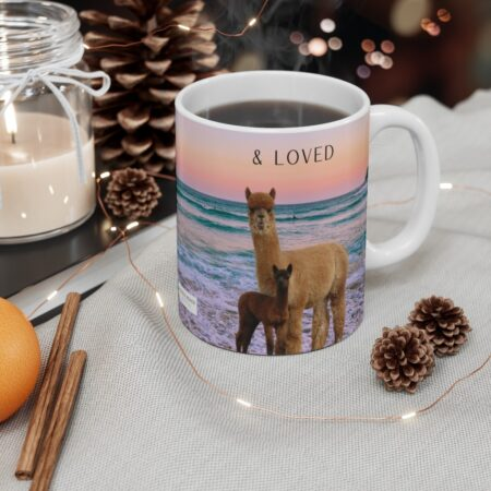 Protected & Loved gift mug for son with llamas and alpacas and beach