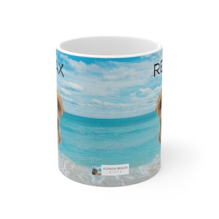 Relax alpaca gift mug with beach