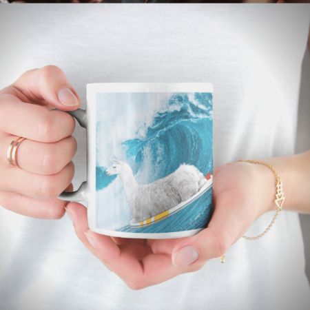 """Woman holding """"Sorry, I can't. I'm going surfing with my llama funny gift coffee mug."""""""