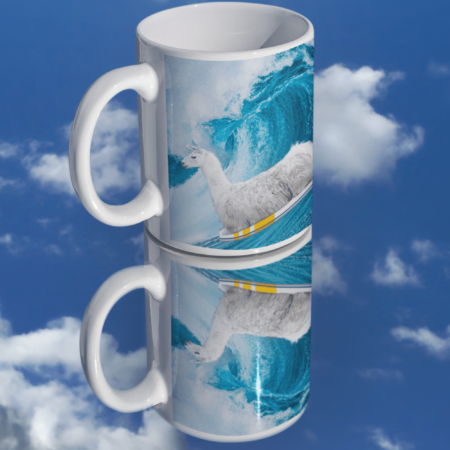 """""""Sorry, I can't. I'm going surfing with my llama funny gift coffee mug."""" on mirror"""