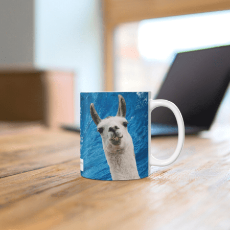 """""""Sorry, I can't. I'm going surfing with my llama funny gift coffee mug."""" on desk"""