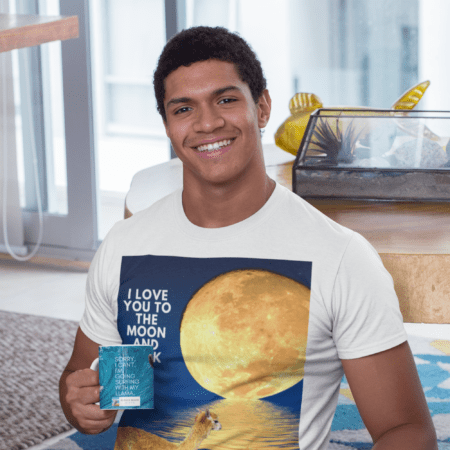 Man in moon shirt carrying Sorry, I can't. I'm going surfing with my llama funny gift coffee mug.