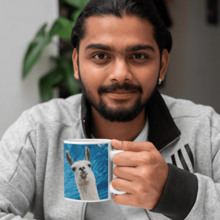 """Man with llama cup looking at camera, """"Sorry, I can't. I'm going surfing with my llama funny gift coffee mug."""""""
