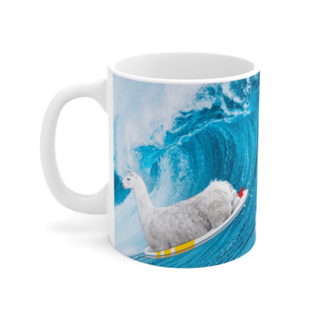 Llama surfing on coffee mug