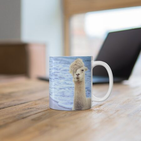 Sorry, I Can't. I have plans with my alpaca. Funny alpaca beach gift mug. on desk