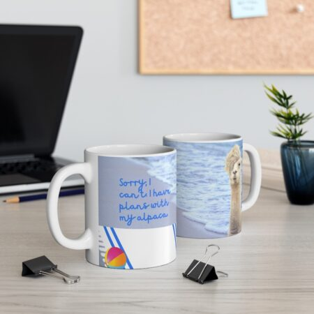 Sorry, I Can't. I have plans with my alpaca. Funny alpaca beach gift mug. two mugs