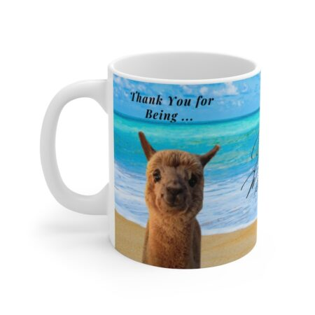 Thank you gift mug with alpaca for child