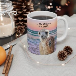 Thank you for being the reason we smile gift beach mug for granddaughter