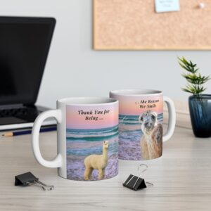 Thank you for being the reason we smile gift beach mugs for grandson