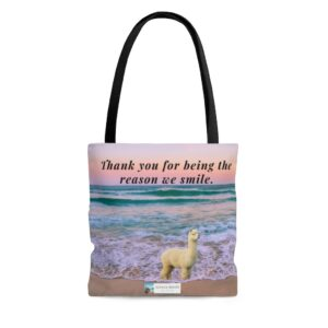 Thank you for being the reason we smile gift beach bag