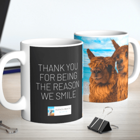 Thank you for being the reason we smile alpaca gift mug two mugs
