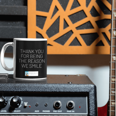 Thank you for being the reason we smile alpaca gift mug on guitar amp
