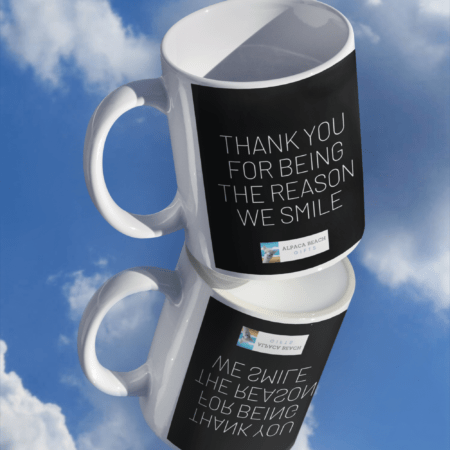 Thank you for being the reason we smile alpaca gift mug on mirror