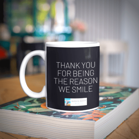 Thank you for being the reason we smile alpaca gift mug words