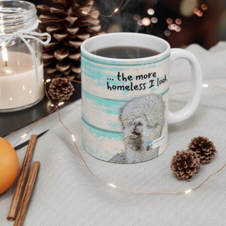 The longer I stay at home, the more homeless I look alpaca beach gift mug for grandfather