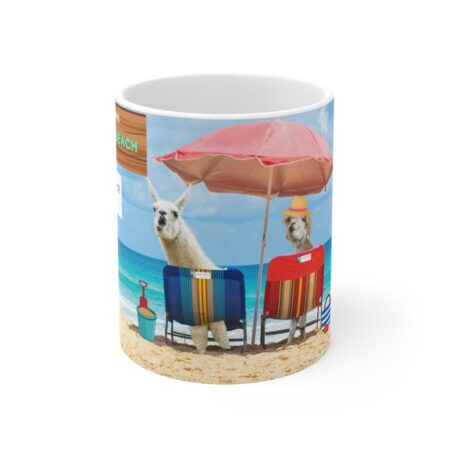 Greetings from Alpaca Beach, funny beach gift, llama and alpaca, coffee mug