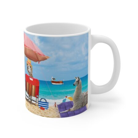 Greetings from Alpaca Beach, funny beach gift, llama and alpaca, coffee mug, beach blanket