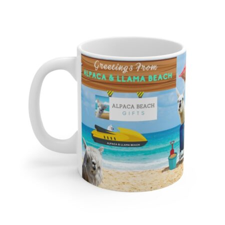 Greetings from Alpaca Beach, funny beach gift, llama and alpaca, coffee mug, race boat