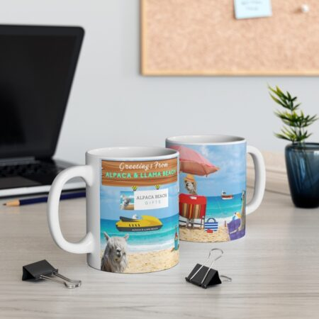 Greetings from Alpaca Beach, funny beach gift, llama and alpaca, coffee mug, two