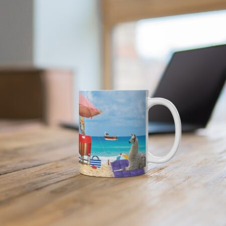 Greetings from Alpaca Beach gift mug, desk