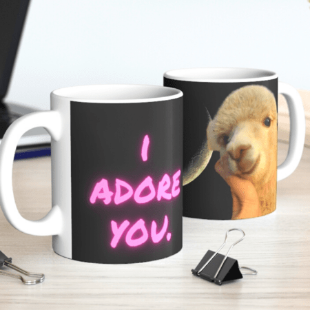 I adore you. You are my sunshine. Alpaca Beach Gifts loving gift to child. two mugs