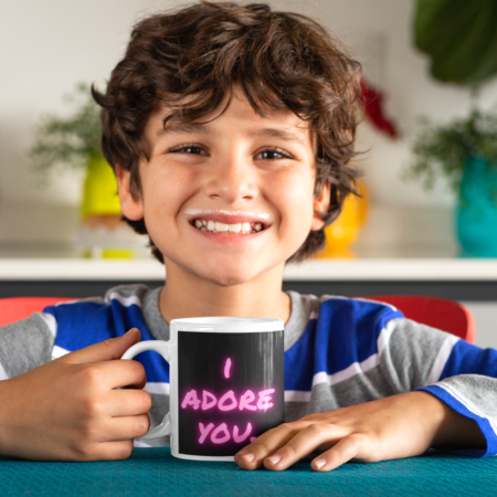 "I adore you. You are my sunshine. Alpaca Beach Gifts loving gift to child. smiling boy with mug that says ""I adore you"""