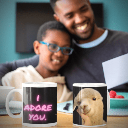 I adore you. You are my sunshine. Alpaca Beach Gifts loving gift to child. Father and son with two mugs