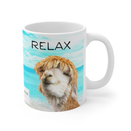 Relax Alpaca Beach gift mug left side